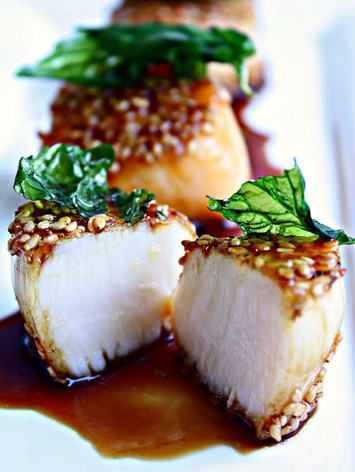 Sesame Scallops with Honey Soy Glaze and Fried Basil Leaves