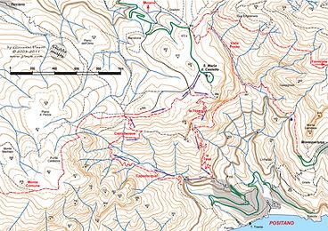 Map Positano Capo D'Acqua Le Tese Hike