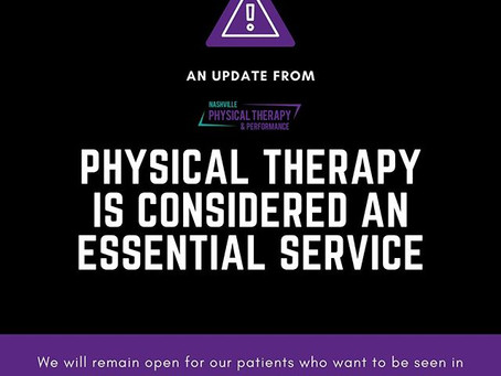 Physical therapy is considered an essential service