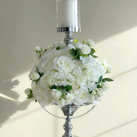 Silver Flower Candle Holder