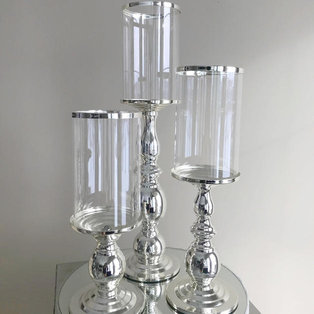 Silver Glass 3 Piece Candle holder