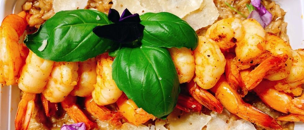 Black Garlic Risotto, with Shrimp