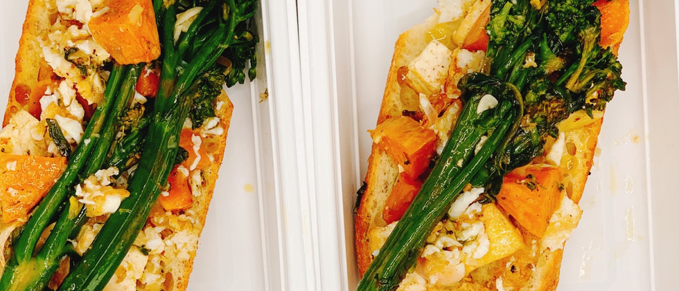Broccolini and tofu on french bread