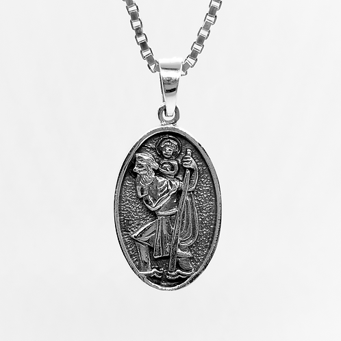Oval Saint Christopher Protection Pendant