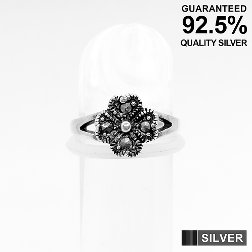 925 Silver 4 Leaf Clover Lucky Heart with Marcasite Stone Toe Ring / Midi Ring
