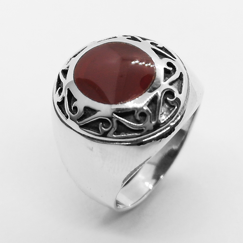 Carnelian Filigree Ring / 925 Sterling Silver, Blackened, Solid