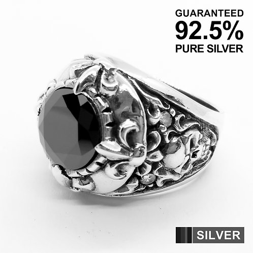 925 Sterling Silver Fleur De Lys & Skull with Black CZ Signet Ring / Quality