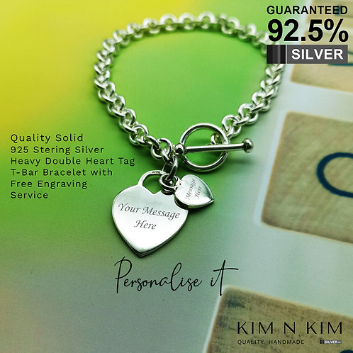 925 Silver Woman's T-bar Double Heart Bracelet /Free Engraving /Quality /Solid