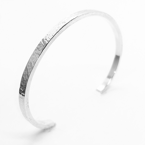 Hammered SQ Open Cuff Bangle / 925 Sterling Silver, Solid