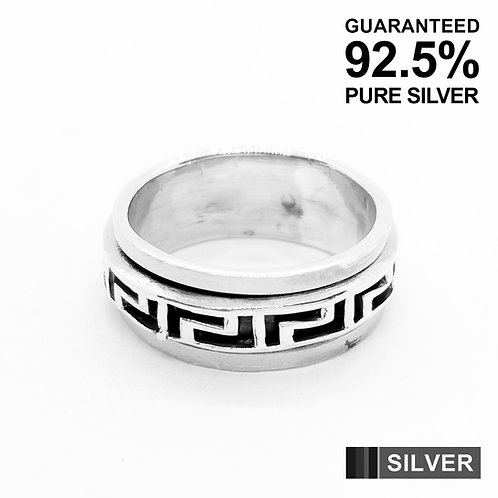 925 Sterling Silver Meander Greek Spinner Band Ring / Quality / Solid