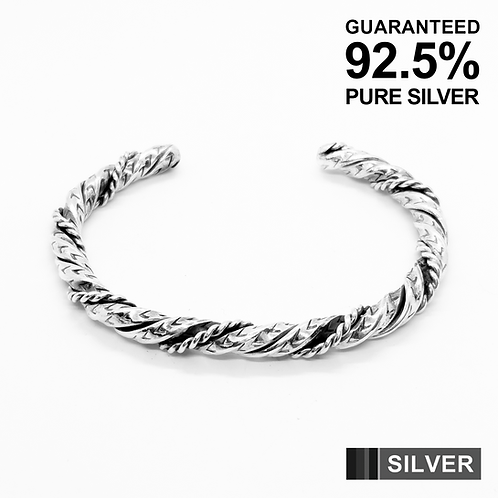 925 Sterling Silver Heavy Twisted Wire Open Cuff Bangle /Solid /Oxidised