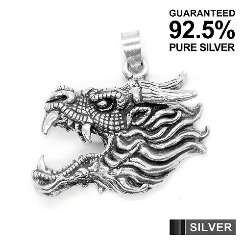 925 Sterling Silver Half 3D DRAGON Head Pendant / Blackened / Solid