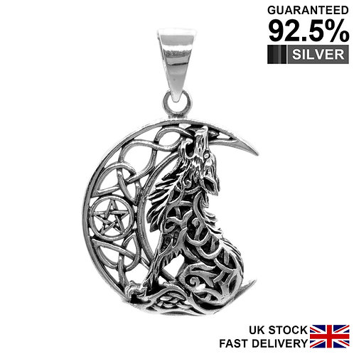 925 Sterling Silver Howling Moon Lone Wolf Pentagram Celtic Pagan Wica Pendant
