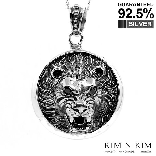 925 Sterling Silver Large 3D Lion Head Medallion Pendant /Solid/Exquisite Detail