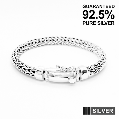 925 Sterling Silver Foxtail link Bracelet /Solid /Secure clasp /Oxidised