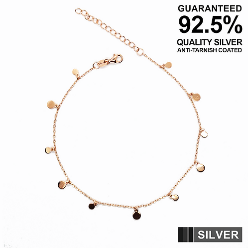 925 Silver Anklet with Small Coins / Rose gold plated / Anti-Tarnish Coated