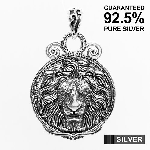 925 Sterling Silver Large Double Sided Lion Head Medal Pendant / Solid / Heavy
