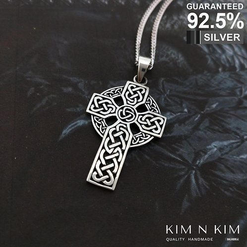 925 Sterling Silver Large Celtic Cross Pendant Necklace / Quality / Solid