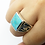 Thumbnail: 925 Sterling Silver Turquoise Stone Horse Shoe Ring / Solid / Oxidised