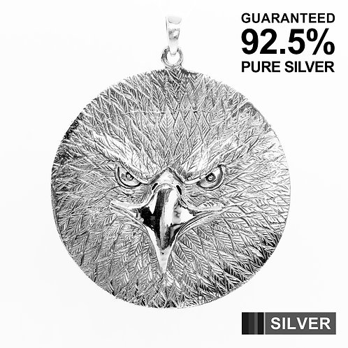 925 Sterling Silver Large Hawk Eagle Medal Pendant / Solid / Quality /