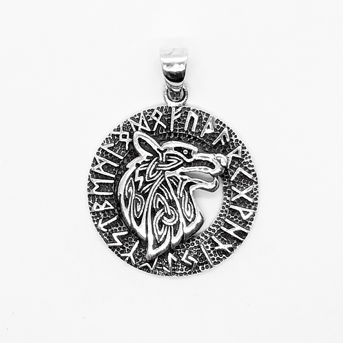 925 Sterling Silver Wolf Head in a Rune Circle Celtic Pendant / Solid