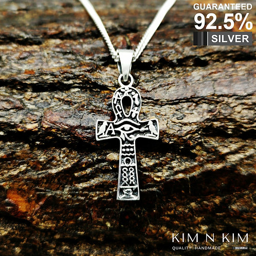 925 Silver Ancient Egyptian Ankh Cross with Hieroglyphs Pendant Necklace / Solid