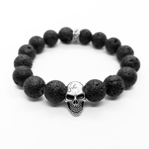 Black Lava Stone Skull Head Beads Bracelet