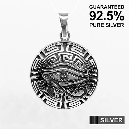 925 Sterling Silver Egyptian Eye of Horus Pendant / Solid / Oxidised