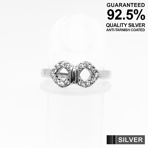 925 Sterling Silver Bow Symbol with CZ Setting Toe Ring / Midi Ring / Quality