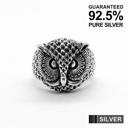 925 Sterling Silver 3D Owl Head Ring / Solid / Oxidised