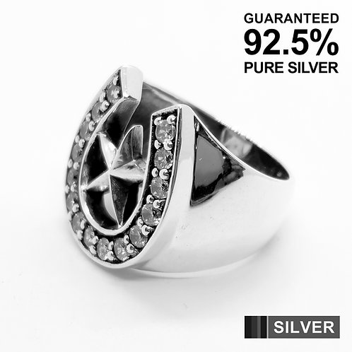 925 Sterling Silver CZ Horseshoe With Lucky Star Signet Ring / Quality