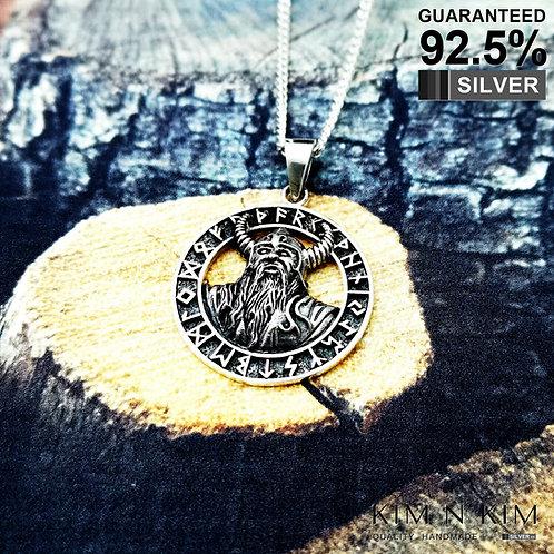 925 Silver Odin Norse Viking Pendant Rune Amulet Talisman Celtic Necklace