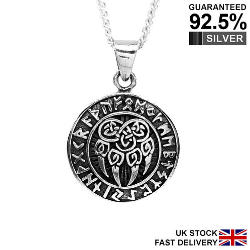 925 Sterling Silver Norse Viking Rune Neo Pagan Celtic Wolf Paw Claw Pendant