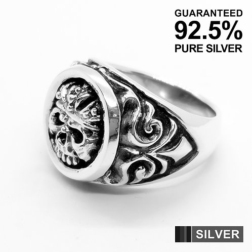 925 Sterling Silver Skull with Crown Gothic Ring / Quality
