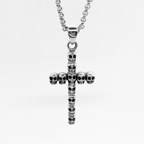 925 Sterling Silver Multi Skull Cross Pendant / Quality / Solid / Oxidised