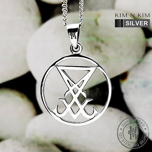 Sigil of Lucifer Seal of Satan Devil Amulet Pendant Necklace / Solid 925 Silver