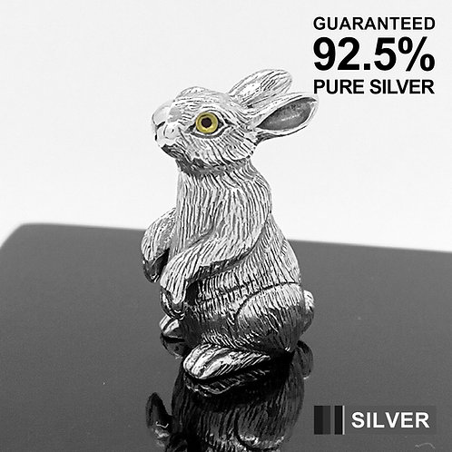 925 Sterling Silver Miniature Rabbit Hare Bunny Animal Figurine /Solid /Quality