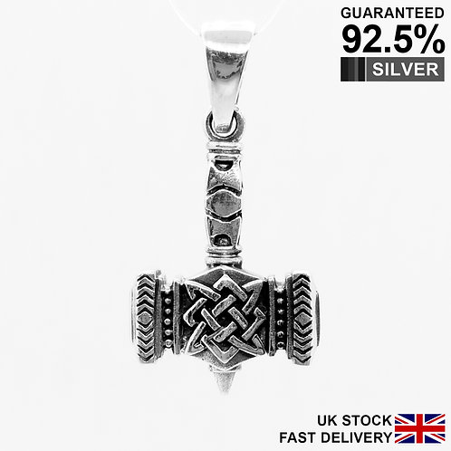 925 Sterling Silver 3D Thor's Hammer Mjolnir Norse Viking Pendant /Solid/Quality