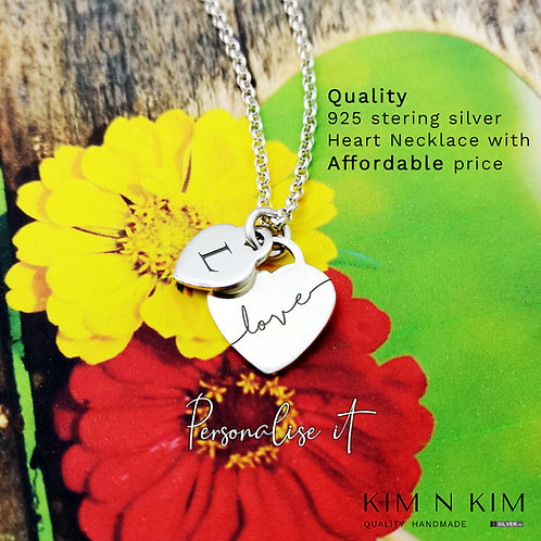 925 Sterling Silver Double Heart Necklace, Personalised Engraving for Woman Girl