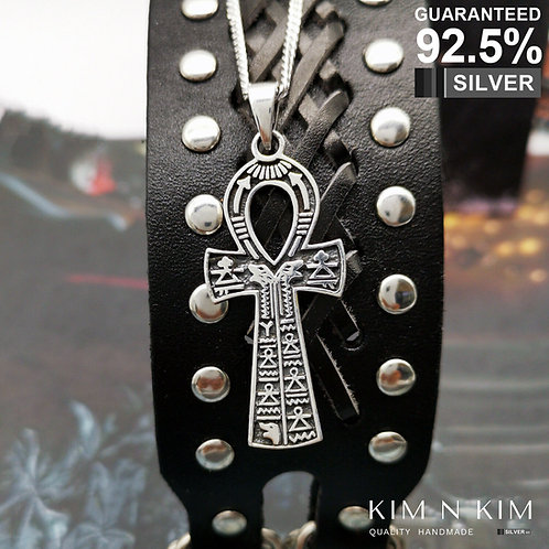 925 Sterling Silver Ancient Egyptian Ankh Cross with Hieroglyph Pendant Necklace