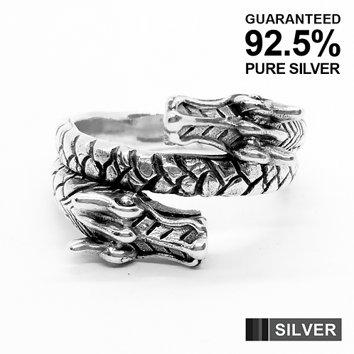 925 Sterling Silver Double Dragon Head Ring / Solid / Oxidised