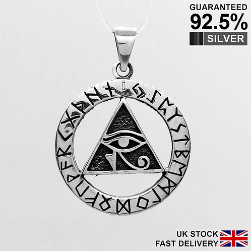 925 Silver Egyptian Eye of Horus God Ra Rah Illuminati Runes Futhark Pendant
