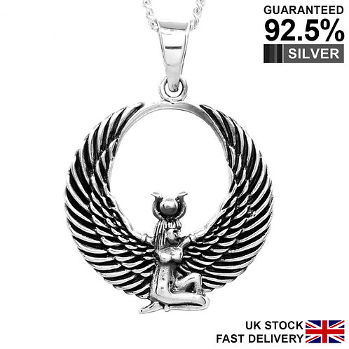 925 Sterling Silver Egyptian Isis Wing Goddess Pendant Necklace