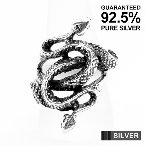 925 Sterling Silver Heavy Double Snake Gothic Ring / Solid / Oxidised