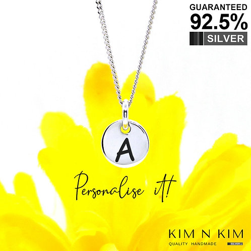 925 Sterling Silver Initial Letter Coin Pendant Necklace / Monogram