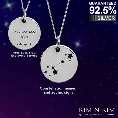 925 Sterling Silver Zodiac Pendant Necklace /Horoscope /Constellation /Star Sign