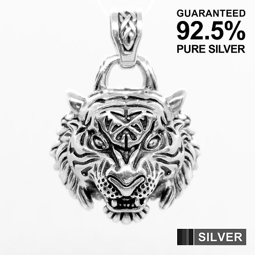 925 Sterling Silver 3D Tiger Mask Pendant / Solid / Quality