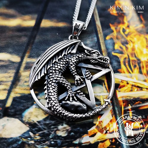 Wicca Neo Pagan Dragon On Pentagram Pendant Necklace / Solid 925 Sterling Silver