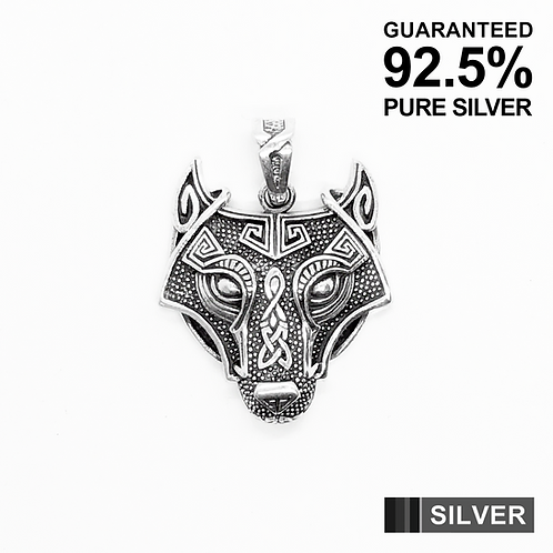 925 Sterling Silver Wolf Head Celtic Pendant Necklace /Solid /Quality