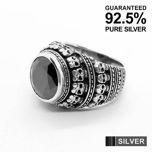 925 Sterling Silver Multi Skull Heads with Black CZ Signet Ring / Quality